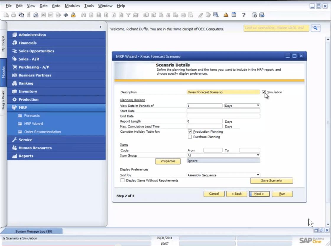 SAP Business One MRP